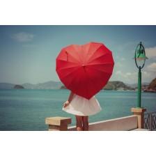 Зонт-трость в виде сердца